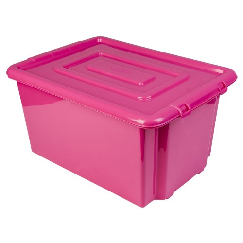 New Whitefurze Plastic Stackable Container Large Pink Storage Box With Lid 52l