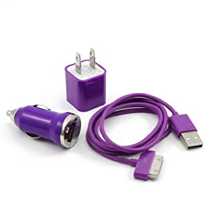 Purple 3-in-1 US Plug Wall Charger + Mini Car Charger + USB Data Charger Cable for iPhone 3 3G 4 4S iPod