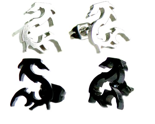 Set of 2 Pairs: Black & Silver Grey Chinese Dragon Stud Earrings, Anodized Hypoallergenic 316L Stainless Steel Posts