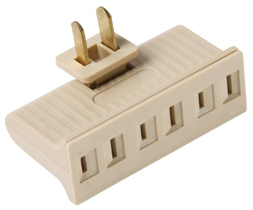 Pass & Seymour 69Icc20 Plug In One To Three Outlet Swivel Adaptor, Single Pole Three Wire, Ivory