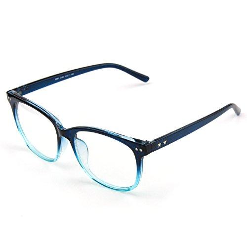 Glasses Queen 201581 Large Oversized Frame Horn Rimmed Clear Lens Glasses,Blue