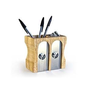 SUCK UK Double Pencil Sharpener Desk Tidy - Natural