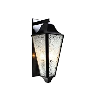 Varaluz Lighting 731KM03EB Longfellow - Three Light - Wall Sconce, Exterior Black Finish with Water Spot Glass