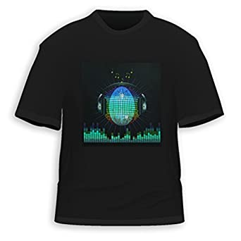 HDE Men's Sound-Activated LED T-Shirt (Multi-Colored, Medium)