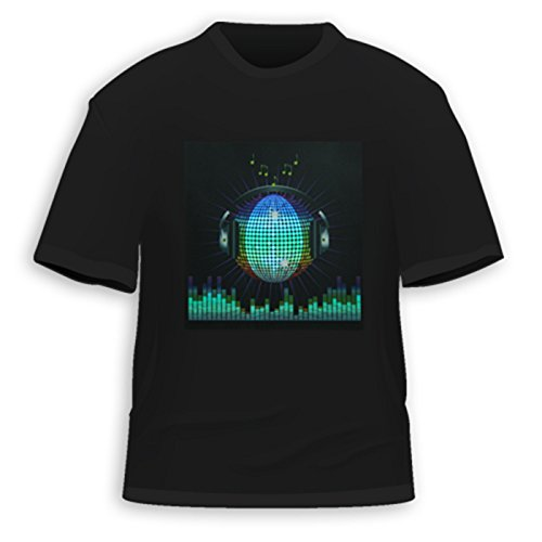 Hde Men'S Sound-Activated Led T-Shirt (Dj Headphones, Large)