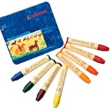 Stockmar Beeswax Stick Crayons in Storage Tin, Set of 8 Colors, Waldorf Assortment