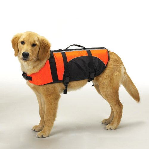 Water Safety Life Jacket Vest for Dogs - Orange, Medium