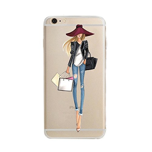 iPhone 6 Plus Case, Axiba Girl Printed Transparent TPU Carring Case Cover for iPhone 6s Plus 5.5 Inch (Pattern 07)