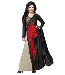 Shree Khodal Women's Black Georgette Dress Material [SK_JCN1044_E]