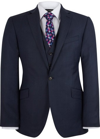 Austin Reed Contemporary Fit Blue Sharkskin Jacket REGULAR MENS 42