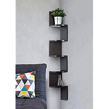 Saganizer corner shelf brown corner shelf unit 5 Tier corner shelves by Saganizer