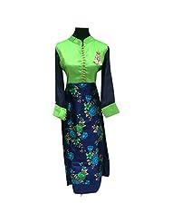 Green And Blue Raw Silk Designer Party Wear Kurti