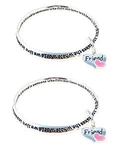 Two (2) Bracelet Set - Friend Poem -