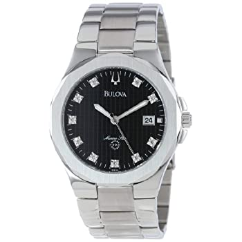 Crisp, masculine styling and excellent legibility make this Bulova watch a true standout.  The solid steel case showcases a patterned black dial with broad luminous hands, a stainless steel seconds hand, and a date display at the three o'clock hour. ...