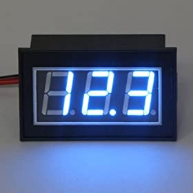 RioRand DC 12/24V Waterproof Digital Volt Panel Meter 4.5-30V Blue LED Motorcycle Voltage Gauge