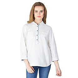 Instict Women's Cotton Shirts (60073WHT_M, White, Medium)