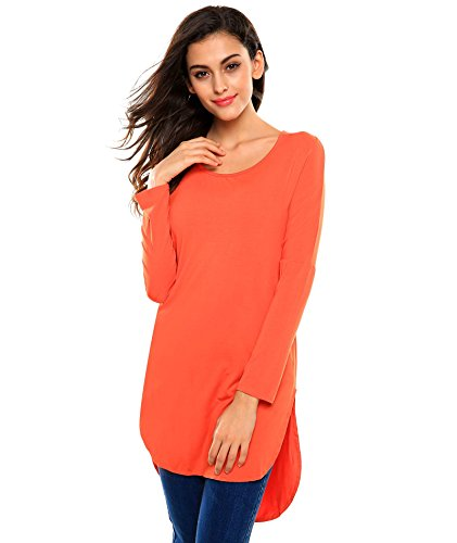 Meaneor Women's Sexy Long Sleeve Side Slit Summer Tunic Round Neckline Orange L