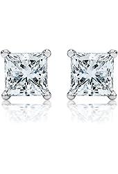 4.00 Carat 925 Sterling Silver Princess Square Cubic Zirconia Stud Earrings. ...