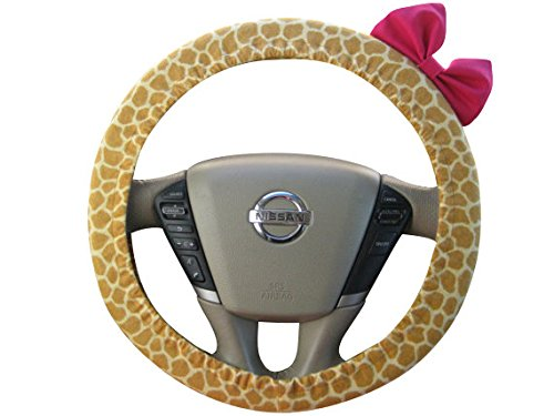 Beau Fleurs BF11004 - Steering Wheel Cover Bow, Flannel Giraffe Steering Wheel Cover with Hot Pink Bow, Giraffe and Pink Bow Wheel Cover, Yellow Giraffe (Steering Wheel Cover Pink Bow compare prices)