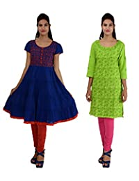 Anpassa Women's Cotton Green And Blue Kurti Combo Set