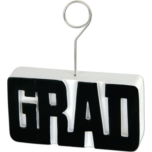 Beistle Graduate Photo/Balloon Holder, Black/White