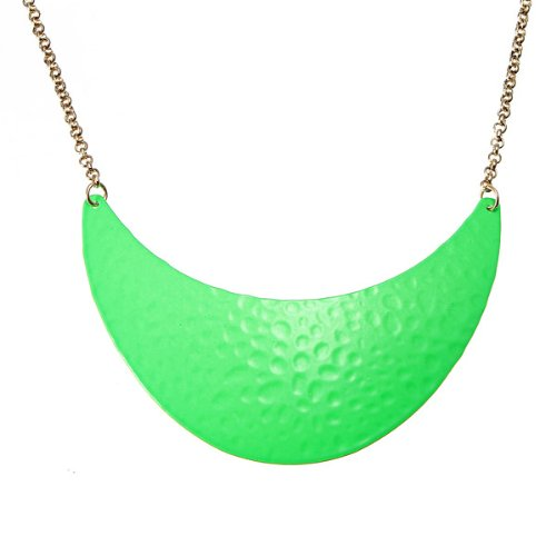 LuckyStore Fashion European Metal Chain Enamel Fluorescence Green Crescent Choker Collar Necklace