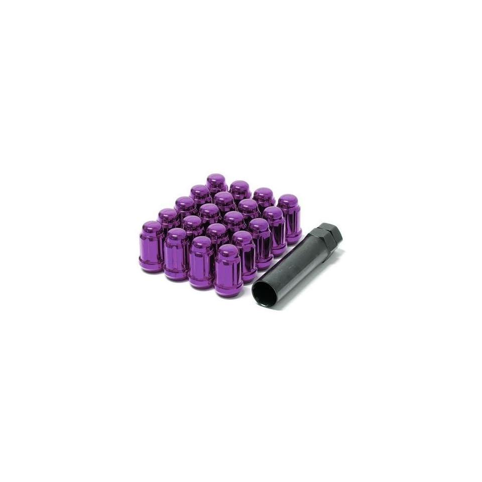 Muteki 41885L Purple 12mm x 1.25mm Closed End Spline Drive Lug Nut Set with Key, (Set of 20)