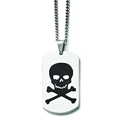 Stainless Steel Polished Black Enamel Skull Dog Tag Necklace from Qgold