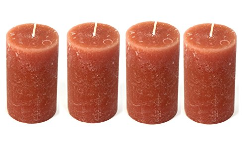 4x-rustic-fragranced-candle-cinnamon-oe-58-x-100-mm-set-of-4-church-candle-rustic-pillar-candle-rust