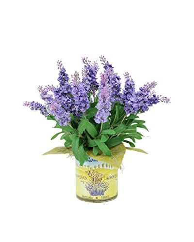 Creative Displays Faux Heather Resting On Lemon Leaves In French Harvest Label Container, Lavender/G...