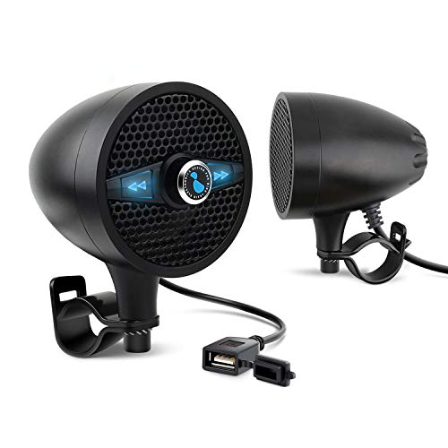 LEXIN LX-S3 New Metal Motorcycle Bluetooth Speaker with FM Radio, Motorcycle Audio Systems with USB Port for Charging, Fit 0.87 to 1.25 inch Handlebar for Harley-Davidson Yamaha Indian Scout, Black