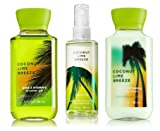Bath & Body Works COCONUT LIME BREEZE Travel Size 3PC Bundle: Fragrance Mist + Body Lotion + Shower Gel 3 oz / 88 mL