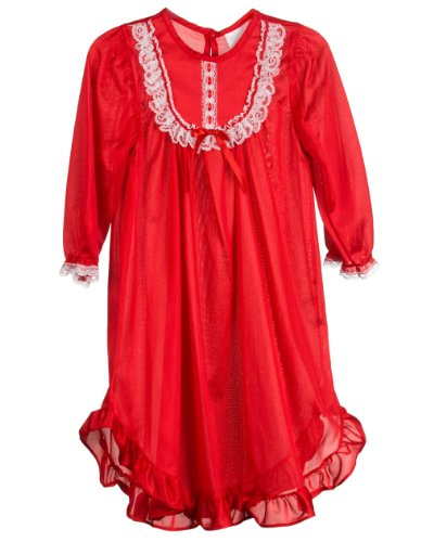 8f9f71b6a934 Laura Dare Girls Red Long Sleeve Nylon Pajama Gown Size 12 - Oscar T ...