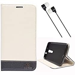 DMG Asus Zenfone 2 Flip Cover, DMG PRaiders Premium Magnetic Wallet Stand Cover Case for Asus Zenfone 2 (White) + Black Stereo Earphone with Mic and Volume Control