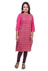 Indibelle Women Hand Block Printed Emroidered Cotton 3|4th Sleeve Plain Kurti