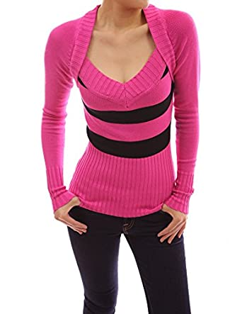 PattyBoutik Sexy Strips Bolero Style V Neck Knit Top Sweater (Pink 14)