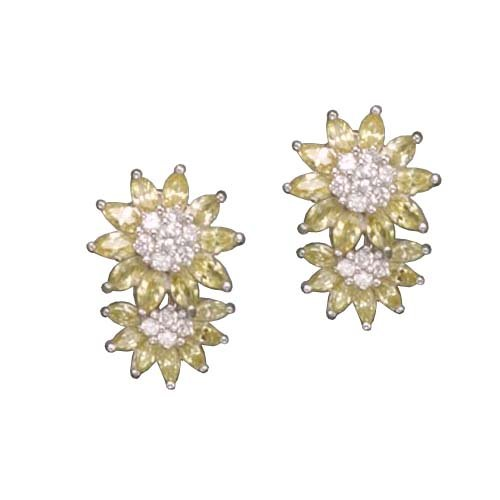 C.Z. AND YELLOW CITRINE DAISY RHODIUM PLATED (.925) STERLING SILVER EARRINGS