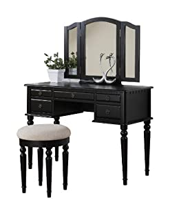Bobkona st croix collection vanity set with - Amazon bedroom chairs and stools ...