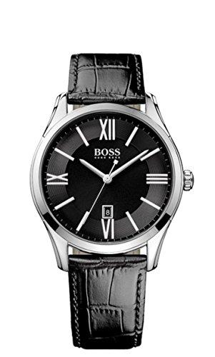 Hugo Boss  Ambassador Round - Reloj de cuarzo para hombre, con correa de acero inoxidable, color negro