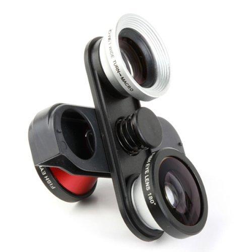 Netspower® 4 in 1 drehbare Kamera Foto Lens Kit für iPhone 5 5G (Selbstauslöser Fish Eye in Front + Fish Eye / Weitwinkel / Makro-Objektiv)