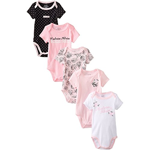 Calvin Klein Baby-Girls Newborn 5 Pack Pink Black And White Bodysuit , Multi, 0-3 Months