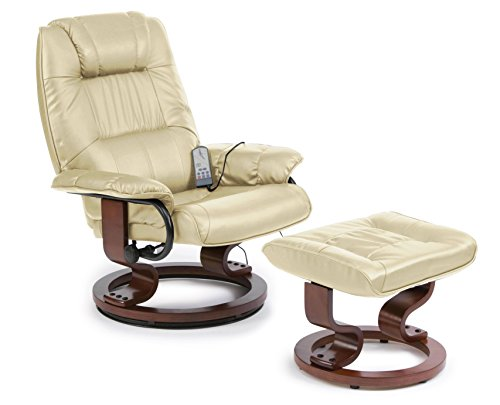Napoli Heat and Massage Recliner Chair (Cream)