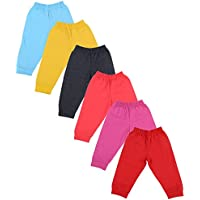 Firstvibe Baby Kids Soft Cotton Track Pants with RIbs, Pack of 6 (HCTPPM_P6, Multi-Coloured, 0-3 months)