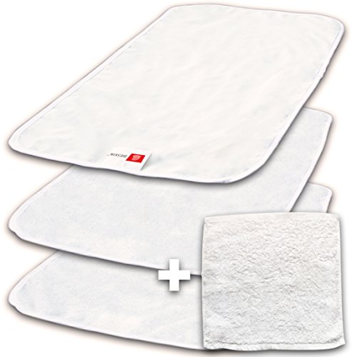 BIESKIN Changing Pad Liners - Waterproof, Bamboo Cotton, 3 Pack + Baby Washcloth (Changing Pads Liners compare prices)