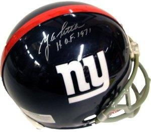 YA Tittle signed New York Giants Full Size Replica Helmet HOF71 - Autographed NFL Helmets at Amazon.com