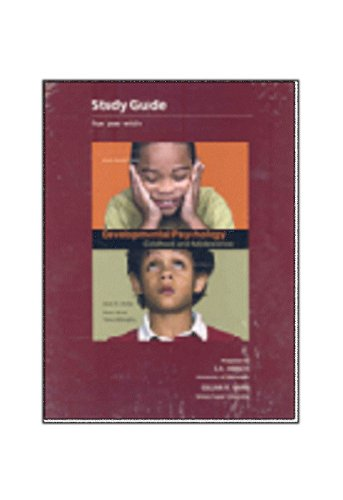 Study Guide for Use with Developmental Psychology: Childhood and Adolescence ( David Schafer) 2nd CANADIAN EDITION