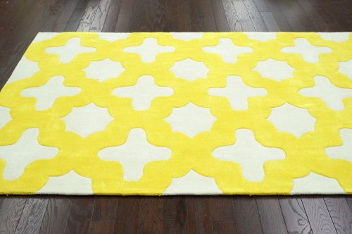 nuLOOM ACR160A Cine Collection Leah Contemporary Hand Made Area Rug, 5-Feet by 8-Feet, Yellow