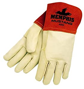 MCR Safety 4950L Mustang Premium Grain Cow MIG/TIG Welder Men's Gloves with Gauntlet Split Leather Cuff, Cream, Large Model: 4950L Tools & Home Improvement from MCR Safety