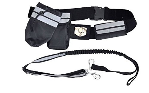 Trico-op HANDS FREE Dog Leash With Adjustable Waist Belt and Bag Reflective Strip For Walking Jogging Running Biking And Hiking, Play Pokemon Go With Pets