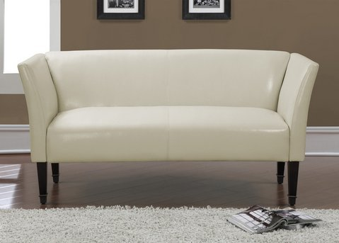 Marcella Creme Bonded Leather Bronze-capped Solid Wood Legs Contemporary Loveseat Sofa for Stylish Elegant Living Room